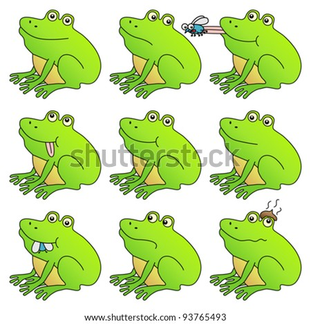 Frog mega set. Funny frogs with different expressions. Fully editable ...