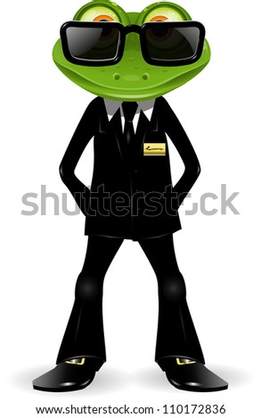 Frog Security Guard In A Black Suit Stock Vector 110172836 ...