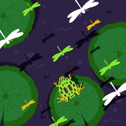 Frog sitting on water lily vector illustration with green amphibian animal and dragonfly on the lake or pond. Waterlily leafs with toad on swamp. Nature and fauna concept for print or wallpaper.