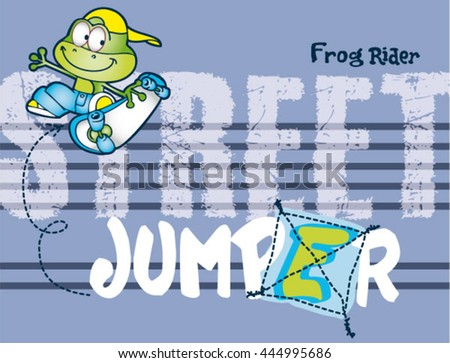 frog skater cartoonprint