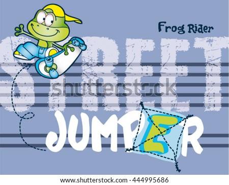 frog skater cartoonprint