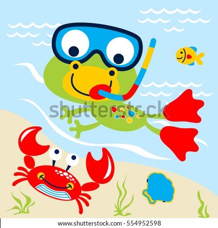 frog swimming in the lake vector cartoon