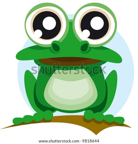 Frog with big eyes - stock vector