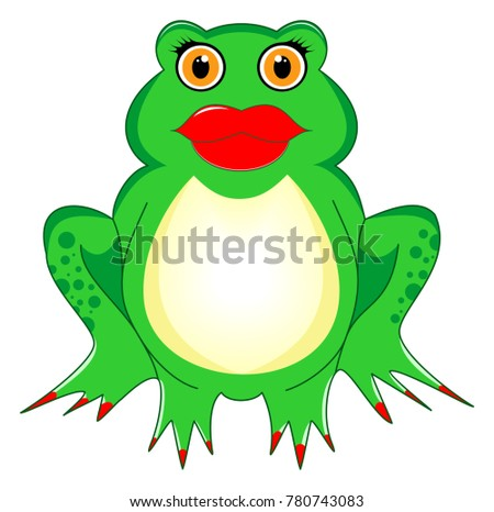 frog woman with kiss mouth  red