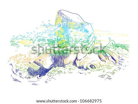 From a series of summer sports: SWIMMING - crawl. (It is a hand drawing converted into a vector file.)