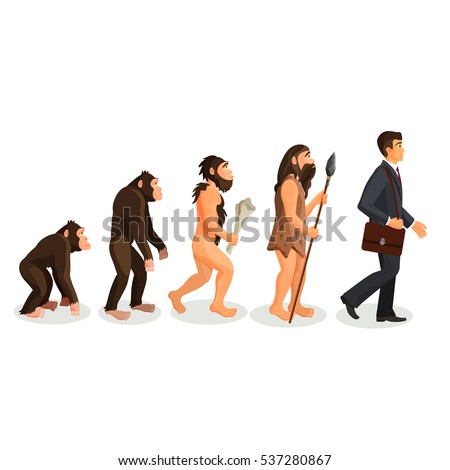 from ape to man standing