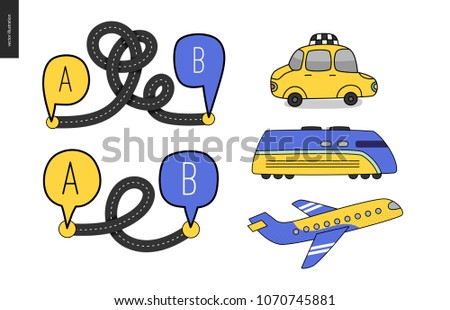 From point A to point B a set of transportation planning concept - airplane and train timetable graphics, taxi service, city road map, train timetable