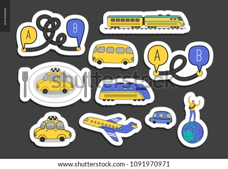 From point A to point B a sticker set of transportation planning concept - airplane and train timetable graphics, taxi service, city road map, train timetable
