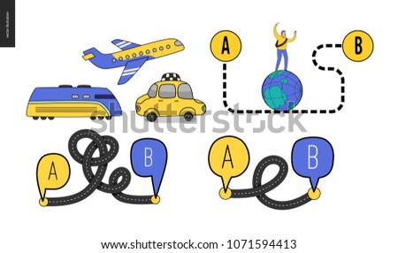From point A to point B set of transportation planning concept - airplane, train timetable graphics, taxi service, city road map, train timetable, young male traveller walking on globe by curved way