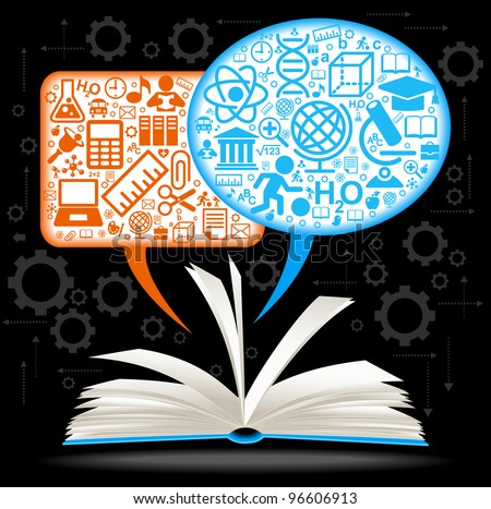 from the opened book fly speech bubbles with icons on the topic of education