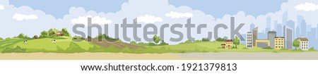 From village to city. Vector illustration, urban and rural landscapes. Foto stock ©