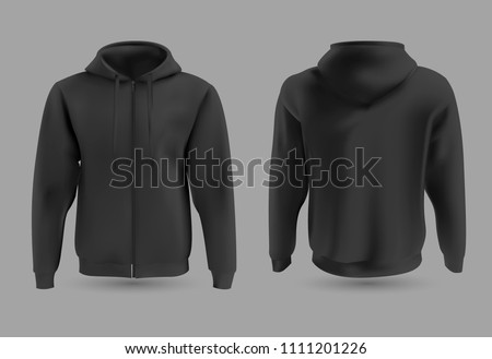 Front and back black hoodie vector template. Sweatshirt fashion with hoodie for sport and urban style illustration. #1111201226