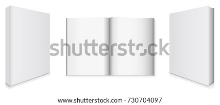 Front and Back Book Covers and Blank Pages Vector Illustration