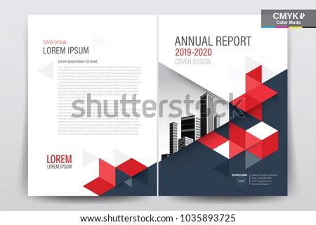Front and back cover of a modern business brochure layout or flyer template, poster, magazine, annual report, book, booklet with red triangle and  building image. Size A4 CMYK Vector illustration