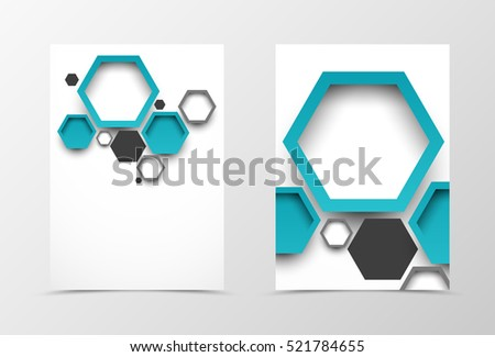 Front and back digital flyer template design. Abstract template with turquoise and gray blank hexagons in geometric style. Vector illustration