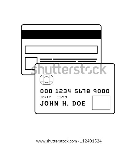 Front and back of a credit card. Modifiable colors. EPS/AI8 file.