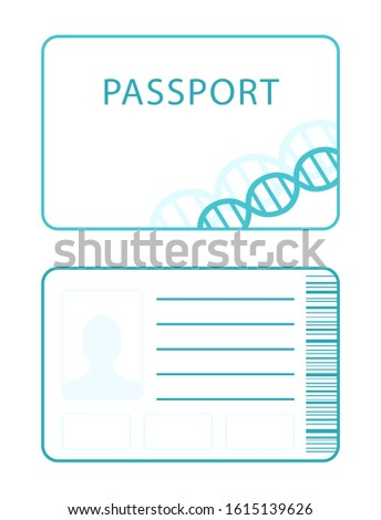 Front and back of the genetic passport with barcode. Modern flat design icon. The medical document of the future.