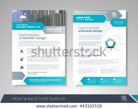 Front and back page brochure flyer design with icons and infographic elements.  Layout template for business  presentation, poster, cover, booklet, banner.