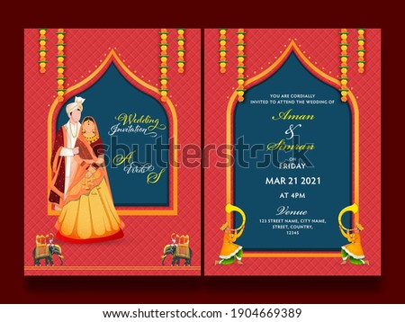 Front And Back Presentation Of Wedding Invitation Card With Indian Couple Character In Traditional Dress.