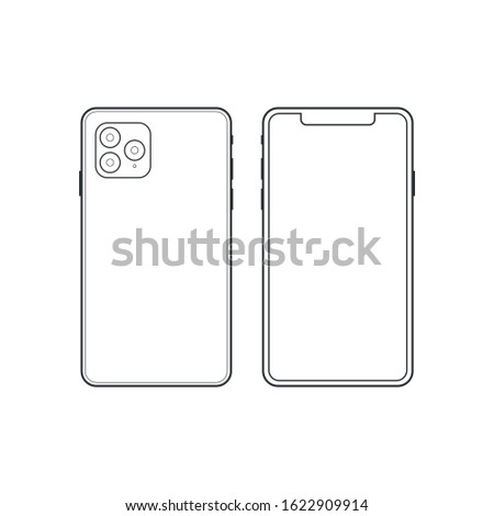 Front and back side new smartphone. Vector simple graphic illustration.  Iphone x xs 11 2019 2018 new apple iphone ios