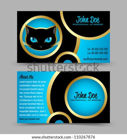 Front and back side of cat head theme business card isolated on grey background