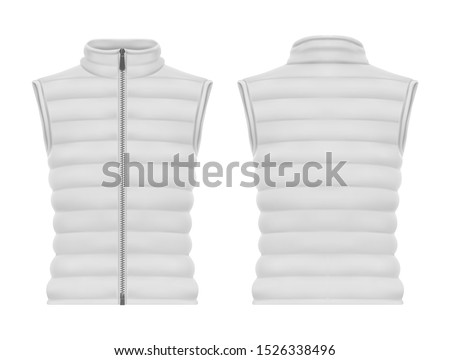 Front and back view on vest jacket or sleeveless puffer closeup, waistcoat mockup. Warm apparel with zap or blank man and woman winter wear. Male and female quilted clothing and fashion, winter Stock photo ©