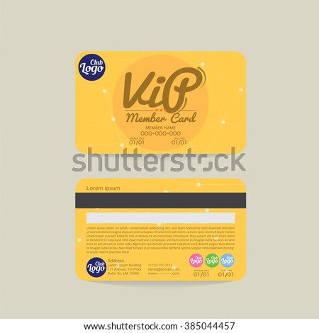 Front And Back VIP Member Card Template Vector Illustration Stock photo ©