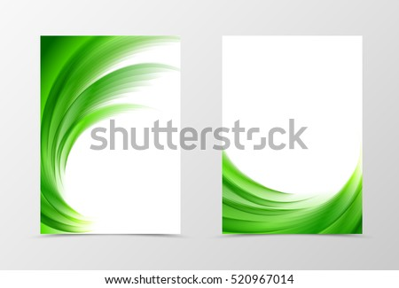 stock-vector-front-and-back-wave-flyer-template-design-abstract-template-with-green-lines-in-swirl-soft-style