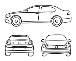 Front, back and side car projection. Flat illustration for designing icons. A hand drawn vector line art of a sedan car.