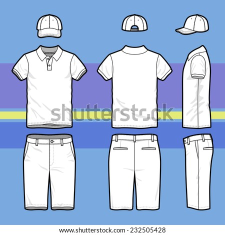 Front, back and side views of men\'s golf set. Blank templates of polo t-shirt, cap and shorts.  Sports uniform. Vector illustration on the striped background for your fashion design.