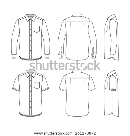 Front, back and side views of men's set. Blank templates of shirts with short and long sleeves. Casual style. Vector illustration for your fashion design.