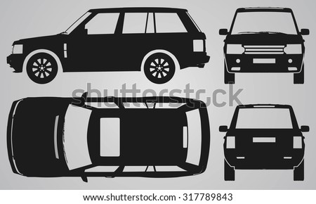 Front, back, top and side SUV projection. Flat illustration for designing icons