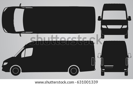 Front, back, top and side van car projection. Flat illustration for designing icons