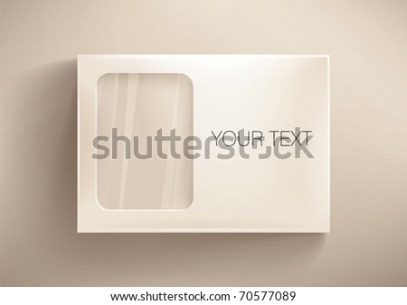 Front cardboard  box with a transparent  window. Eps10 vector - stock vector