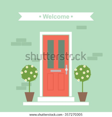 Front Door House Exterior Entrance Vector Illustration
