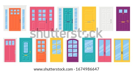 Front door. Vector. Set house doors in flat design isolated on white background. Cartoon illustration. Building entrance. Closed doorways with doorknob, letterbox and knocker. Stock photo ©