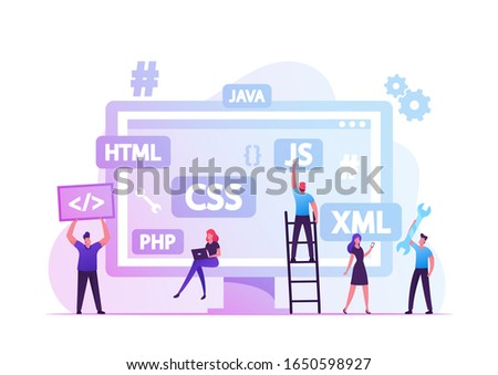 Front End Development Concept. Developers Create Web Interface, Coding and Programming on Computer. Professional Expert Html Data Base Structure, Java Script Code. Cartoon Flat Vector Illustration