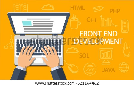Front End Development, web application, website creating concept. Developer working at a laptop. Flat style and doodle icons in background, top view. Vector illustration.