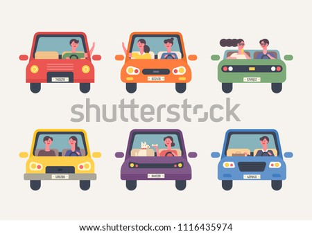 Front icons for various people driving. flat design style vector graphic illustration set