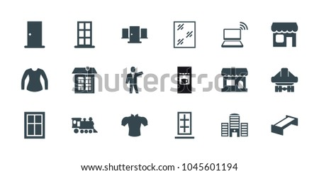 Front Icons Set Of 18 Editable Filled Garden Bench Door