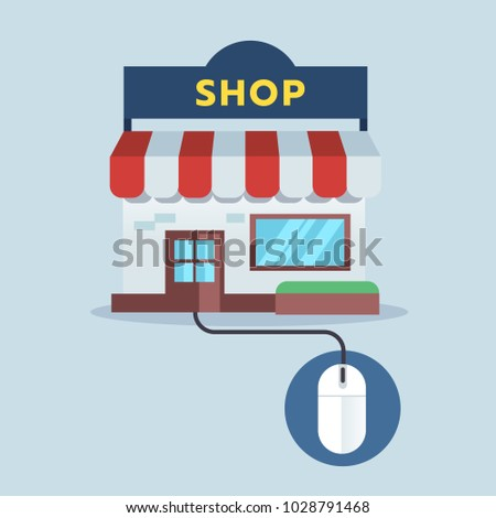 Front Shop connect with mouse, online shopping concept. Vector illustration