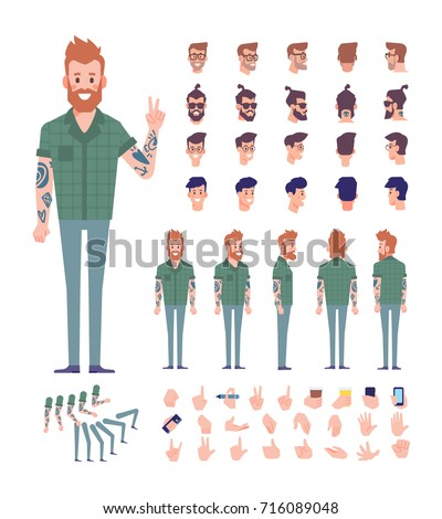 Front, side, back view animated character. Bearded hipster with tattoos on his arms constructor constructor with various views, hairstyles, poses and gestures.Cartoon style, flat vector illustration.