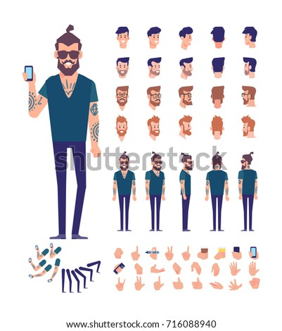 Front, side, back view animated character. Brutal Bearded hipster with tattoos on his arms constructor with various views, hairstyles, poses and gestures. Cartoon style, flat vector illustration.