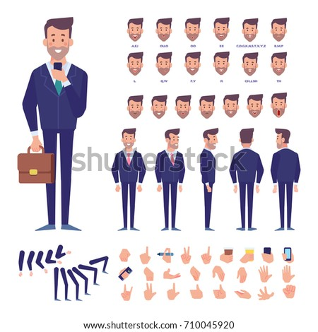 Front, side, back view animated character. Business man character constructor with various views, hairstyles, face emotions, poses and gestures. Cartoon style, flat vector illustration.