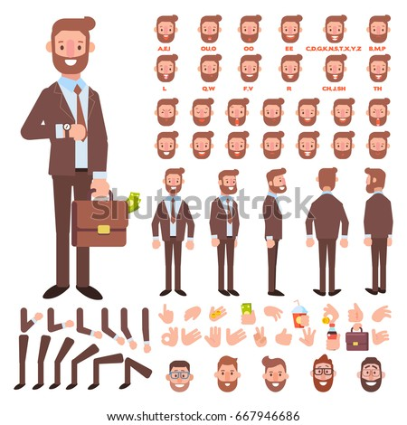 Shutterstock Front, side, back view animated character. Business man character creation set with various views, hairstyles, face emotions, poses and gestures. Cartoon style, flat vector illustration.