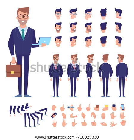 Front, side, back view animated character. Business man character creation set with various views, hairstyles, poses and gestures. Cartoon style, flat vector illustration.