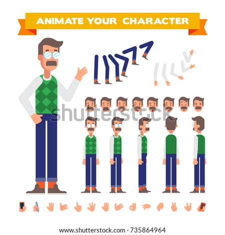 Front, side, back, 3/4 view animated character. Dad character constructor with various views, face emotions, poses and gestures. Cartoon style, flat vector illustration.