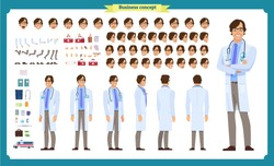 Front, side, back view animated character. Doctor character creation set with various views, face emotions, poses and gestures. Cartoon style, flat vector illustration.Isolated on white.Male doctor