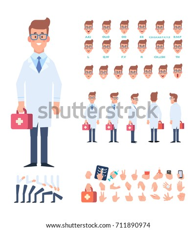 Front, side, back view animated character. Doctor character creation set with various views, face emotions, poses and gestures. Cartoon style, flat vector illustration.