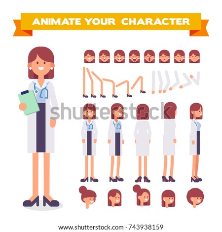 Front, side, back, 3/4 view animated character. Doctor woman character constructor with various views, hairstyles, face emotions, poses. Cartoon style, flat vector illustration.